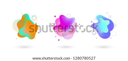 Vector vivid gradient spots with geometric symbols set on isolated background. Abstract elements for trendy vibrant color design. Fluid blots, wavy dops, flowing elements. Plasma splash illustration