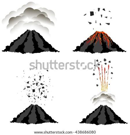 vector volcano erupting icons