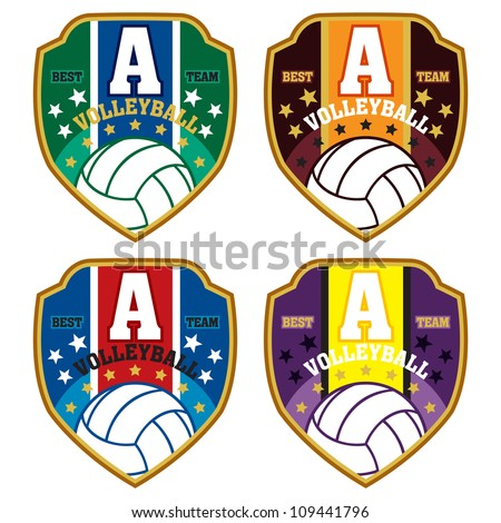 Vector volleyball badge / Vector volleyball labels / volleyball emblems