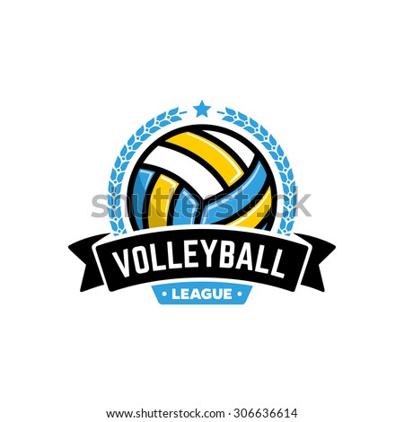 Vector volleyball league logo with ball. Sport badge for tournament championship or league.