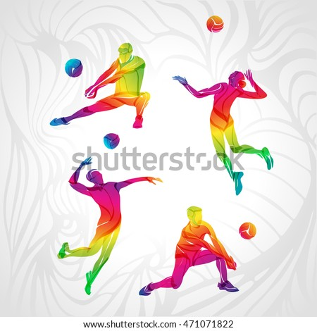 vector volleyball silhouettes