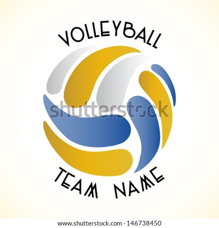 Vector volleyball team logo on white background