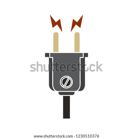 vector voltage power socket plug isolated icon - energy voltage sign symbol