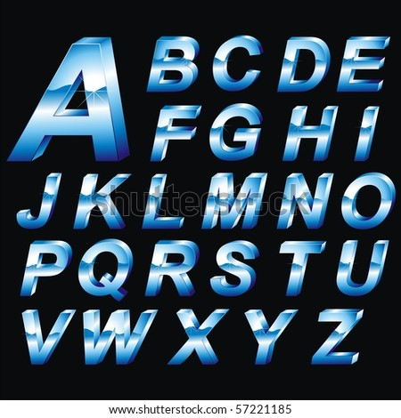 Vector voluminous blue letters. Alphabet