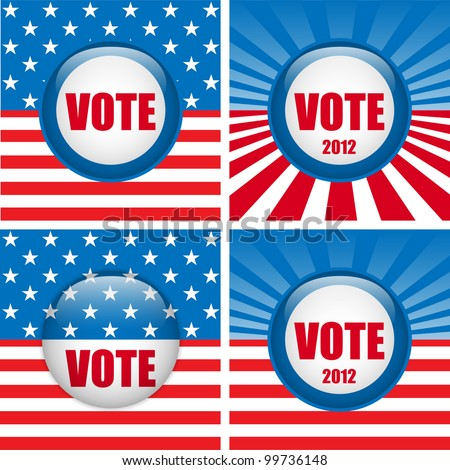 Vector - Vote Buttons. Set of four with Background