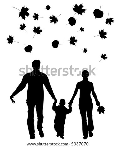 vector walking family autumn