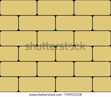 Vector wall of yellow bricks on a black background