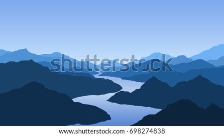 Vector wallpaper with a landscape, mountains and river