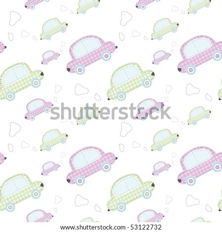 vector wallpaper with cute colored cars