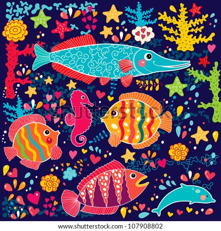 vector wallpaper with fish and