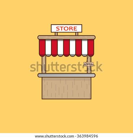 Vector wallpaper wooden store. Vector illustration