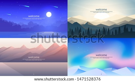Vector wallpapers in minimalist flat  concept. Background for games, web design. Moon over water, sunrise in the Himalayas, mountains near water, aurora in the Arctic over snow-capped mountains.