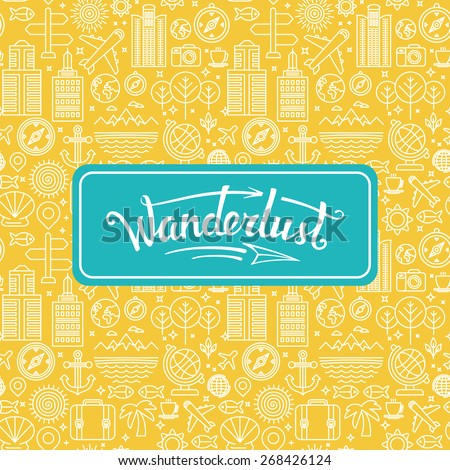 Vector wanderlust logo - travel concept - hand-lettering design element on bright background with linear icons
