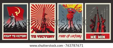 vector war poster set