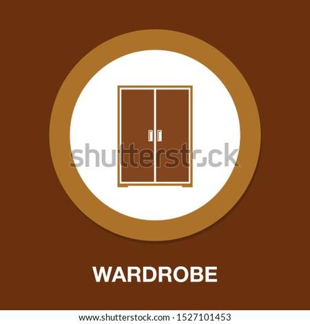 vector wardrobe illustration isolated, furniture closet