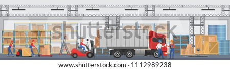 Vector Warehouse interior with workers arranging goods on the shelves and dip boxes into a truck. Warehouse modern interior wirh cargo truck.