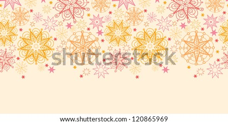 Vector warm stars horizontal seamless pattern background ornament with hand drawn elements.
