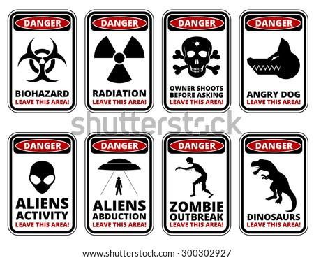 vector warning humorous signs