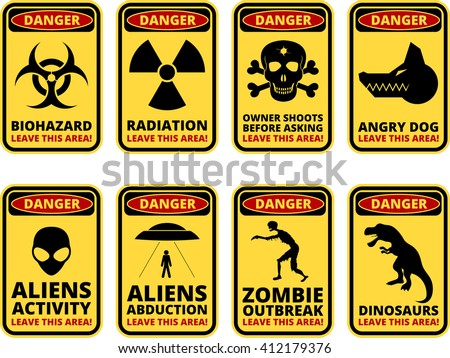 vector warning humorous signs