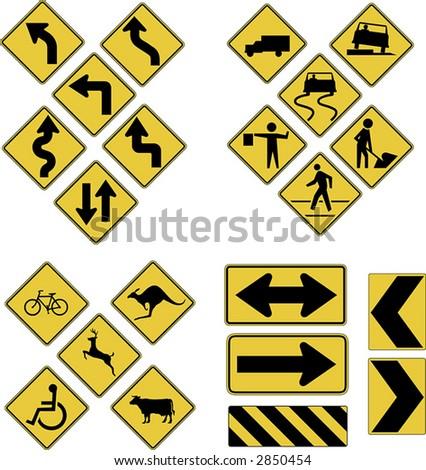 Vector warning road signs
