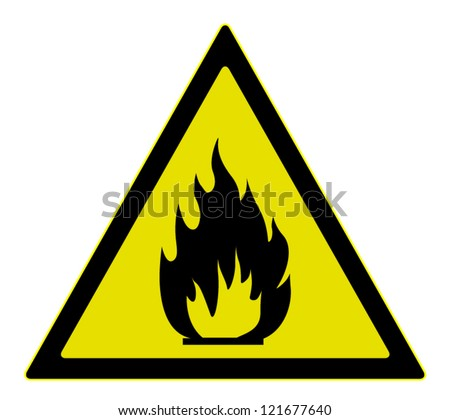Vector warning  sign of flammable materials, isolated on white background - stock vector