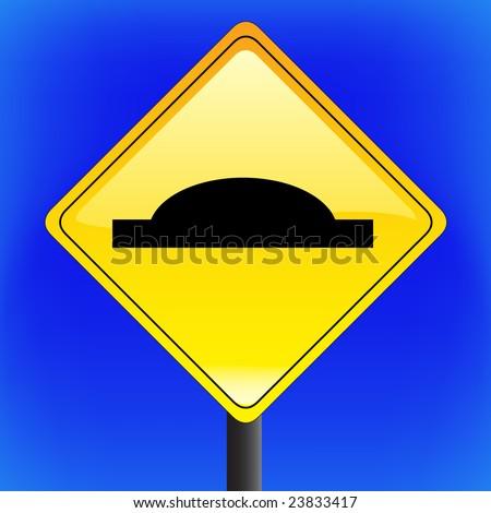 vector warning speed bump sign
