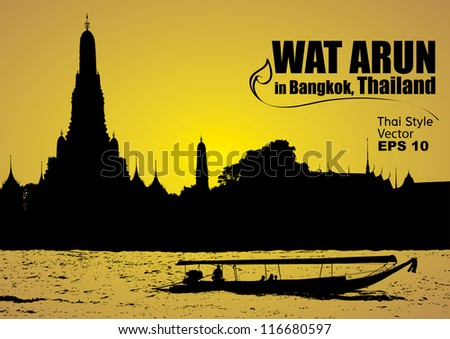 vector  wat arun in bangkok