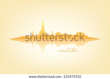vector  wat arun in bangkok