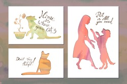 Vector watecolor silhouettes of pets with phrases: Home is where your cat is, don't buy- adopt, pet is all you need. Templates for leaflets, flyers, pamphlet, cards. Dog on hind legs, cat's smelling.