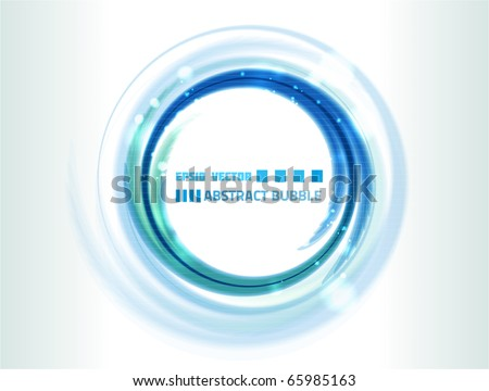 Vector water bubble-like abstraction on white background for your design. Colored blue.
