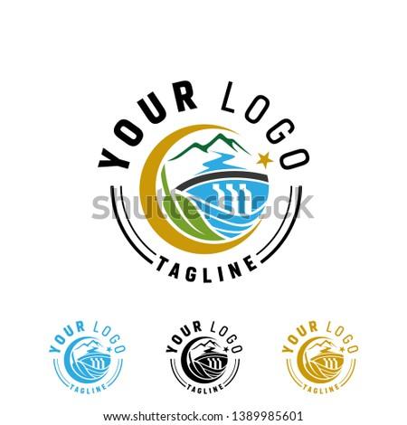 vector water dam logo design