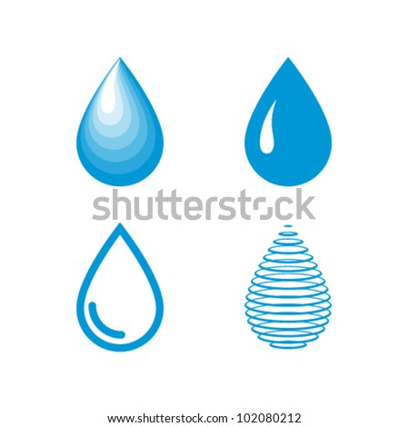 Vector Water Drops Icon Set