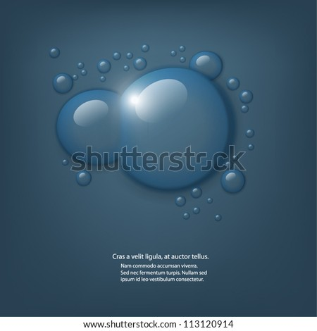 Vector water drops on dark blue background.