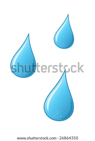 vector water drops on white background