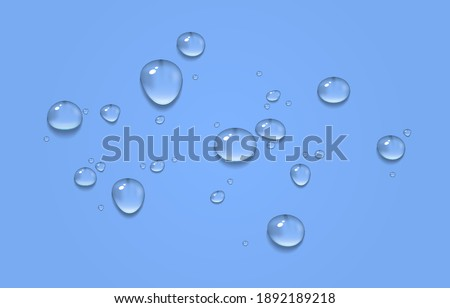 Vector water drops. PNG drops, condensation on the window, on the surface. Realistic drops.