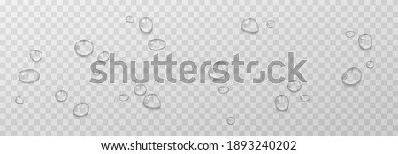 Vector water drops. PNG drops, condensation on the window, on the surface. Realistic drops on an isolated transparent background.