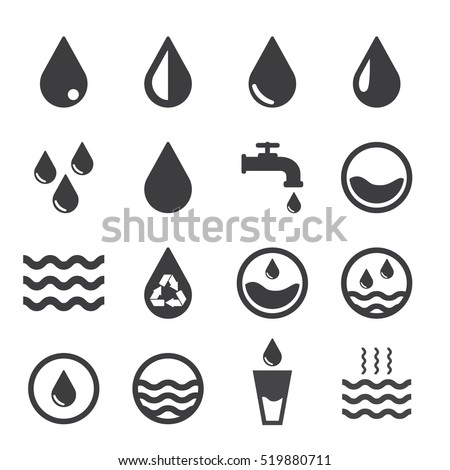 vector water icons set on white
