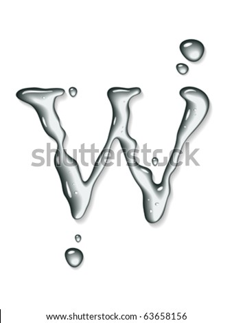 Vector water letter w
