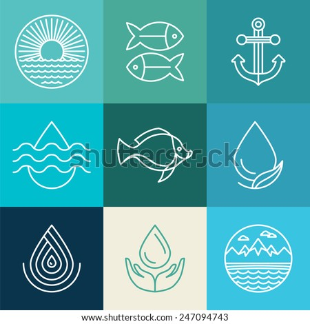 vector water line icons and
