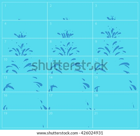 vector water splash sequence