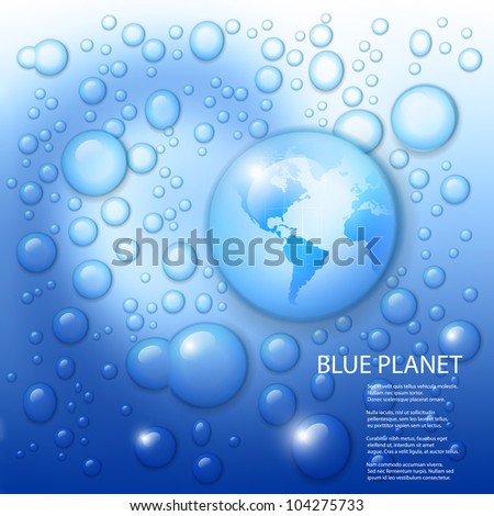 Vector water splash with globe of the world in drop on blue background.