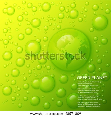 Vector water splash with globe of the world in drop on lime green background.