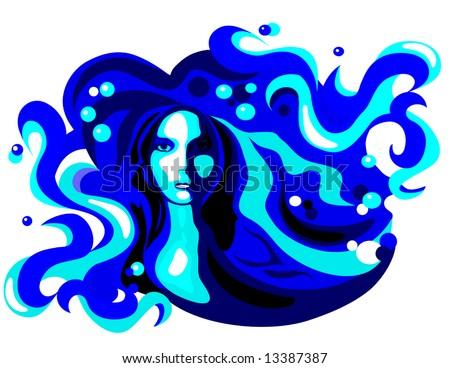 Vector Water Woman is hand drawn original artwork.