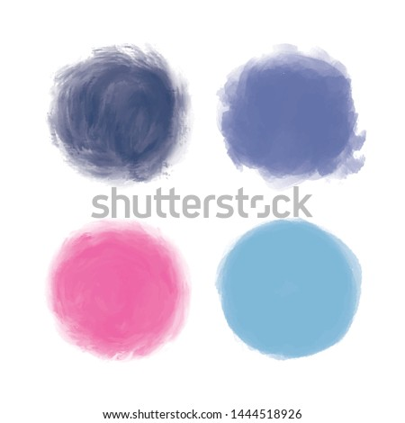 Vector watercolor acrilic paint circles. Hand drawn artistic creative paint splash or splatter isolated white background. Abstract splash. vibrant water color art splotches. Grunge round shape stain.
