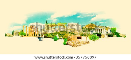 vector watercolor athens city...
