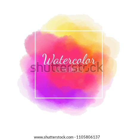 Vector Watercolor background. Frame.  Isolated on white