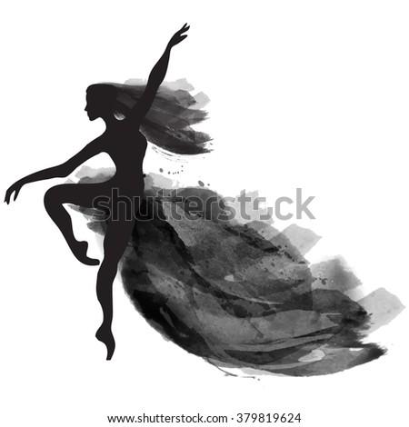 vector watercolor ballerina in a jump