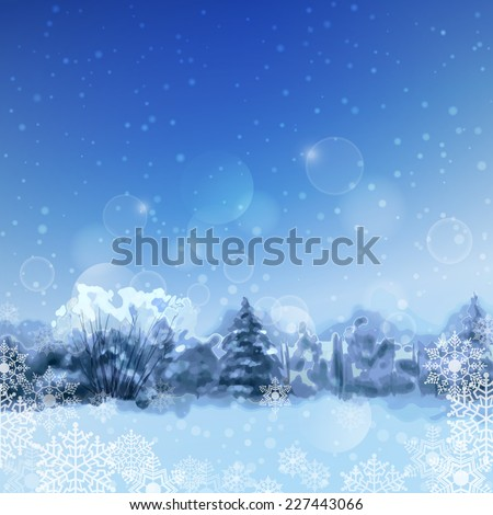Vector watercolor blue night landscape with snow-covered forest