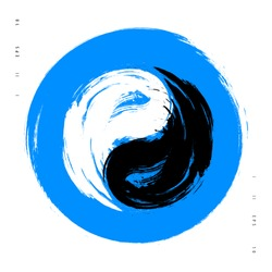 Vector watercolor brush yin yang symbol of harmony and balance. Black and white on blue background illustration