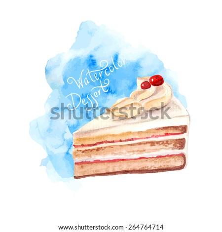 vector watercolor cake  piece